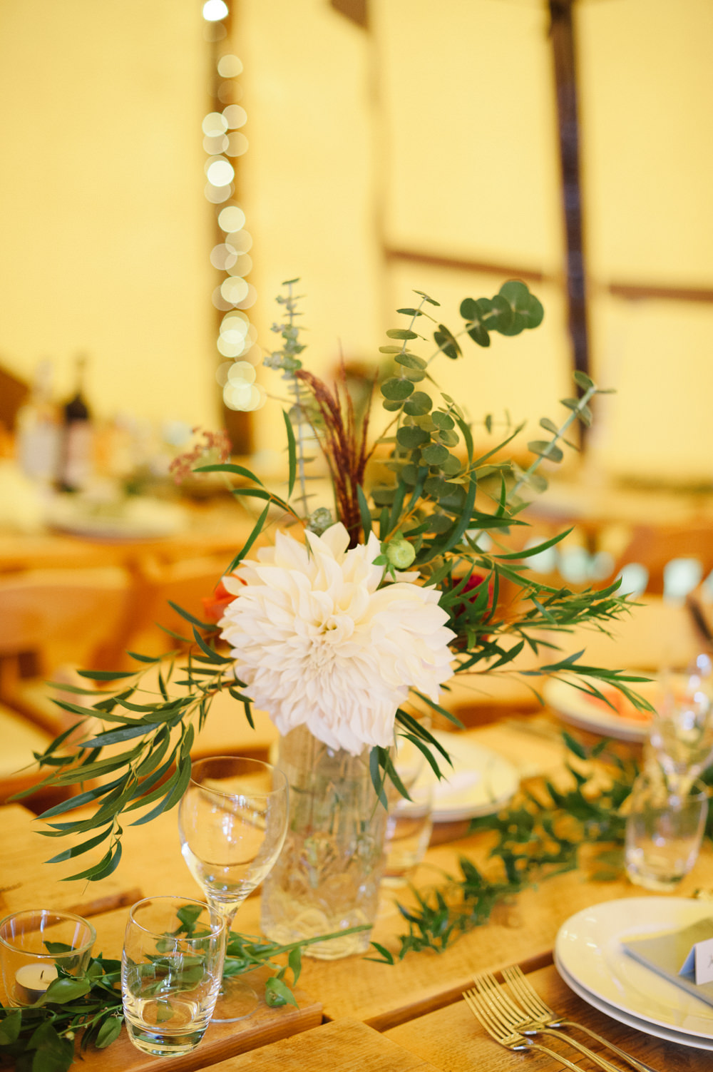 Table Flowers Centrepiece Bottle Cafe Au Lait Dahlia Rock Wedding Cornwall Robin Studios