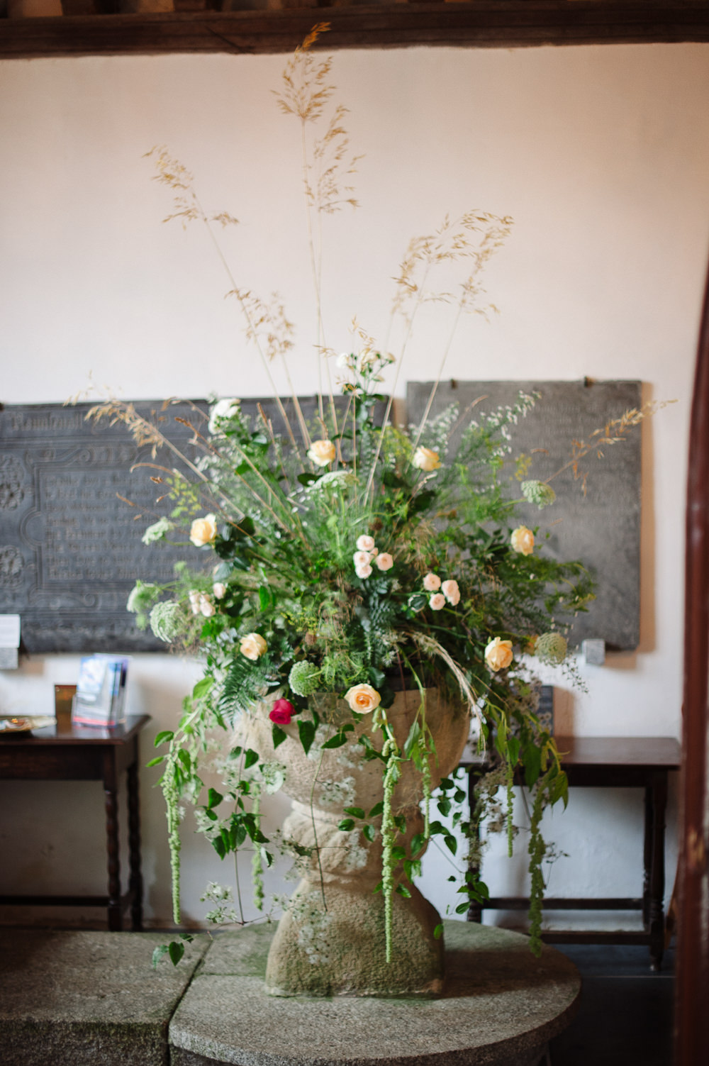 Church Flowers Arrangement Wild Natural Rock Wedding Cornwall Robin Studios