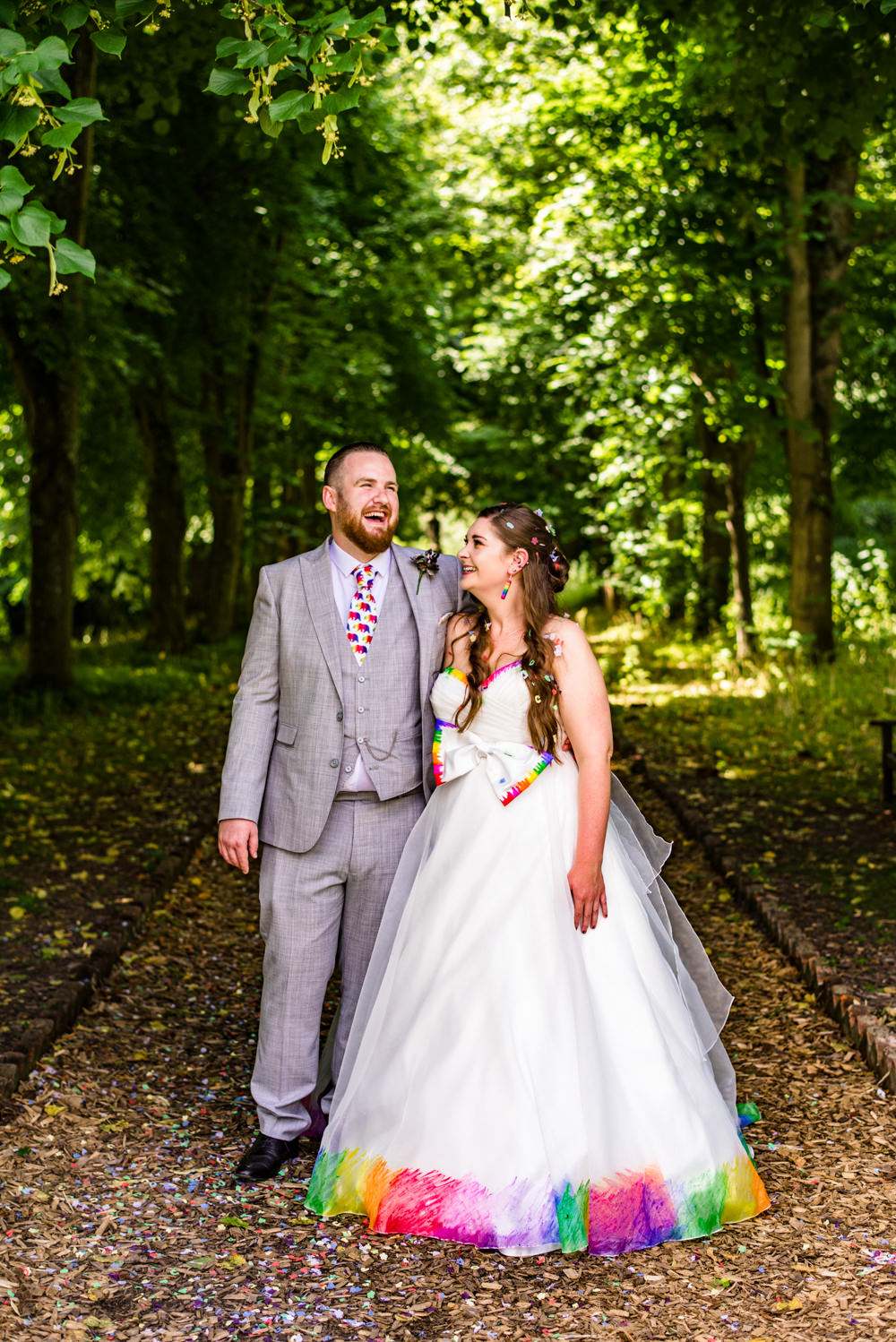 Bride Bridal A Line Tulle Gown Dress Bow Multicoloured Three Piece Suit Groom Safari Park Wedding Jonny Barratt Photography