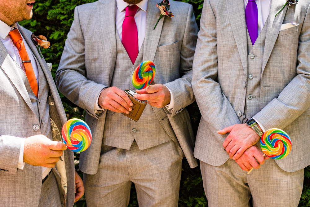 Grey Three Piece Suit Waistcoat Rainbow Tie Lollipop Safari Park Wedding Jonny Barratt Photography