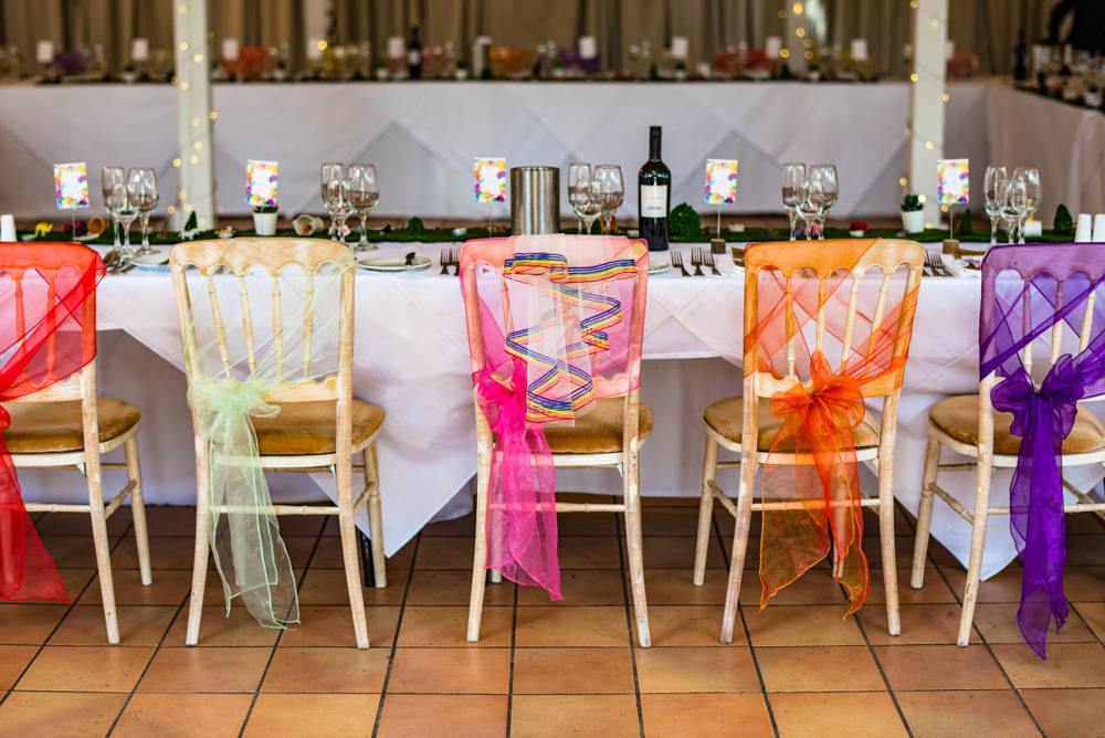 Rainbow Chair Sash Safari Park Wedding Jonny Barratt Photography
