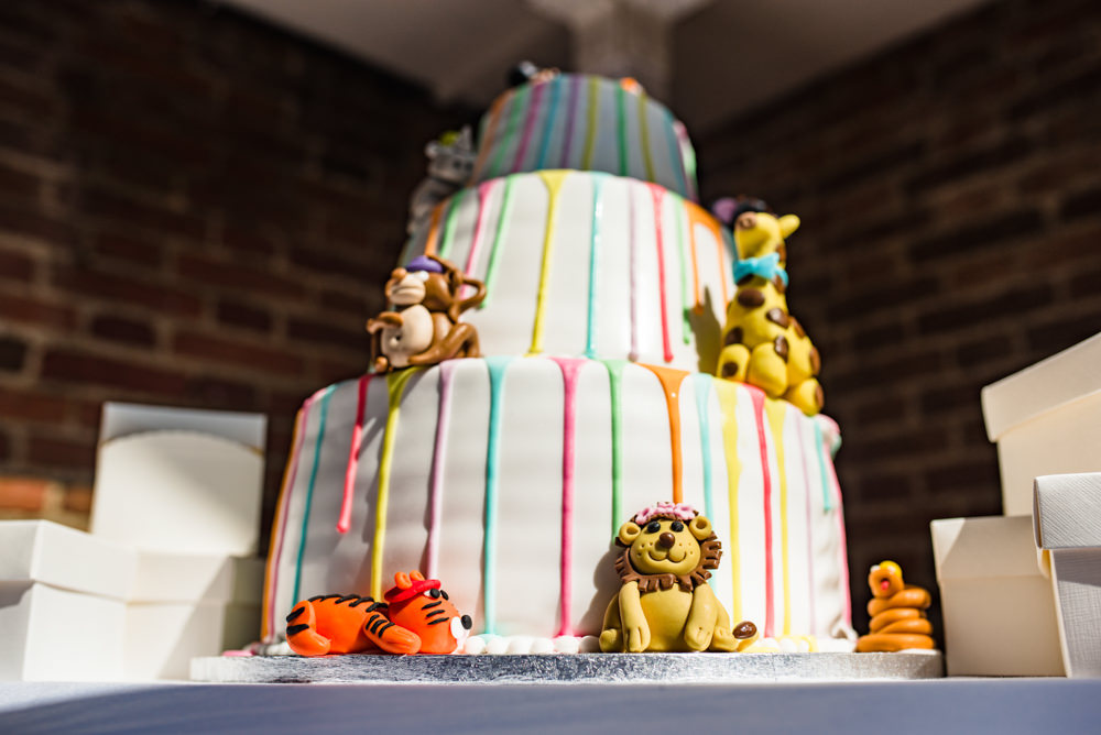 Multicoloured Drip Cake Animals Three Tiered Safari Park Wedding Jonny Barratt Photography