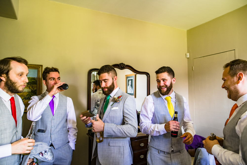 Groomsmen Rainbow Multicoloured Ties Safari Park Wedding Jonny Barratt Photography