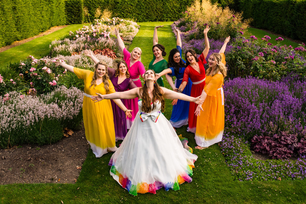 Bride Bridal A Line Tulle Gown Dress Bow Multicoloured Rainbow Bridesmaids Safari Park Wedding Jonny Barratt Photography