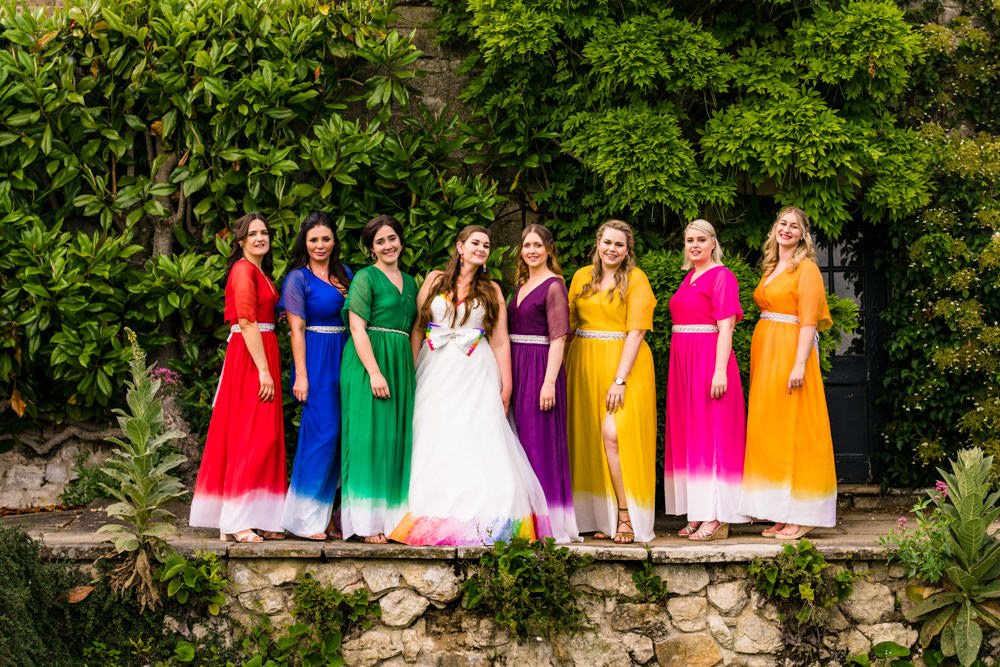 Bride Bridal A Line Tulle Gown Dress Bow Multicoloured Mismatched Rainbow Bridesmaids Safari Park Wedding Jonny Barratt Photography