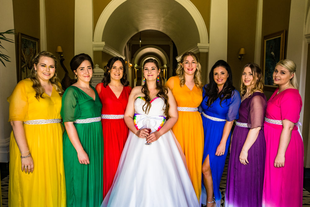 Bride Bridal A Line Tulle Gown Dress Bow Multicoloured Mismatched Bridesmaids Safari Park Wedding Jonny Barratt Photography