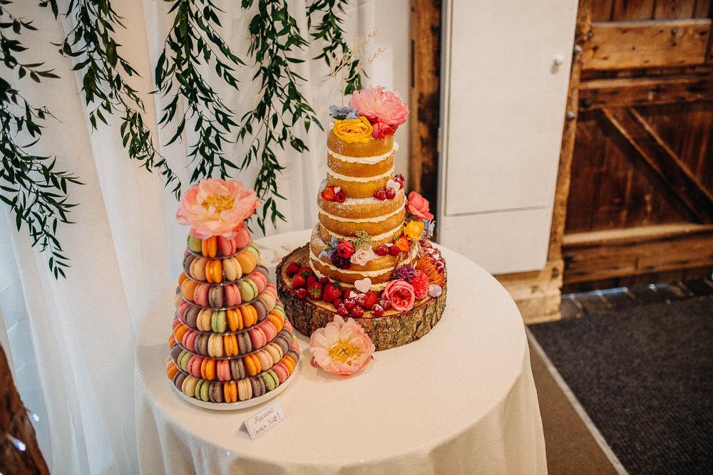 Naked Cake Sponge Macaron Tower South Farm Wedding Miracle Moments