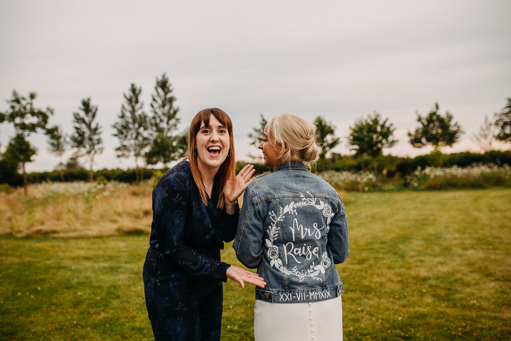 Bride Bridal Dress Gown Stella York Straps Train Veil Floral Petals Personalised Denim Jacket South Farm Wedding Miracle Moments