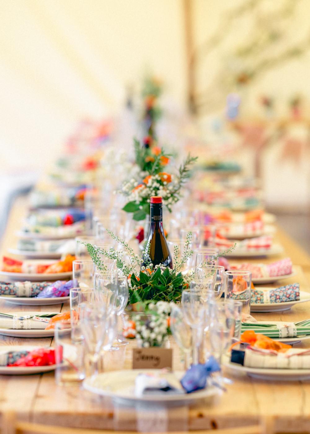 Long Table Tent Colourful Napkins Flowers Decor Teybrook Orchard Wedding Hayley Jaynes Photography