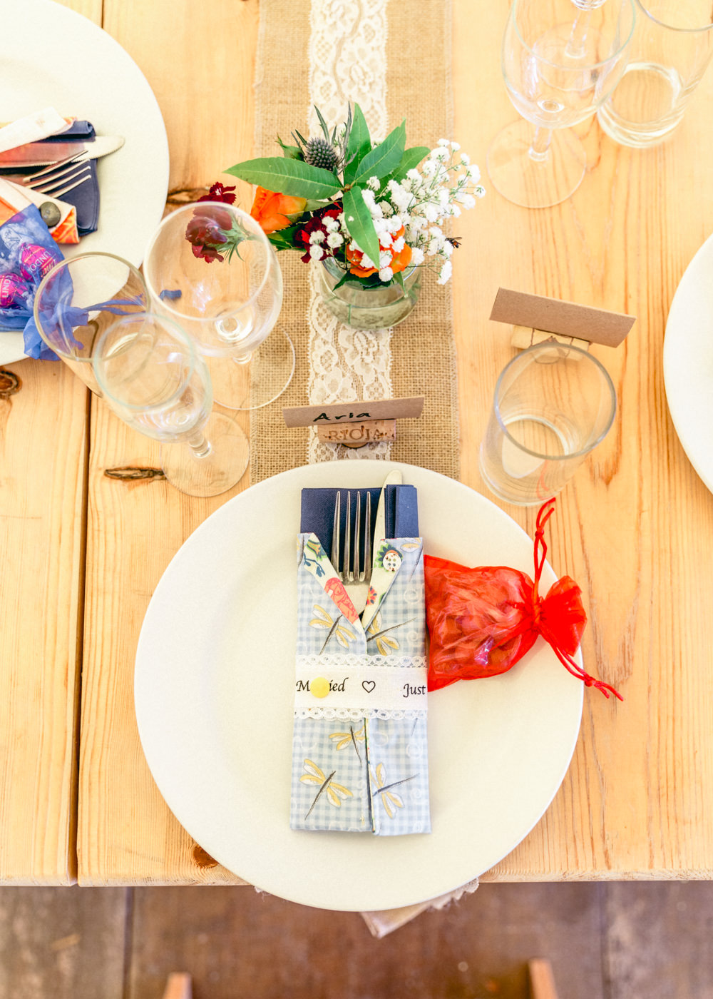 Place Setting Napkin Favour Teybrook Orchard Wedding Hayley Jaynes Photography