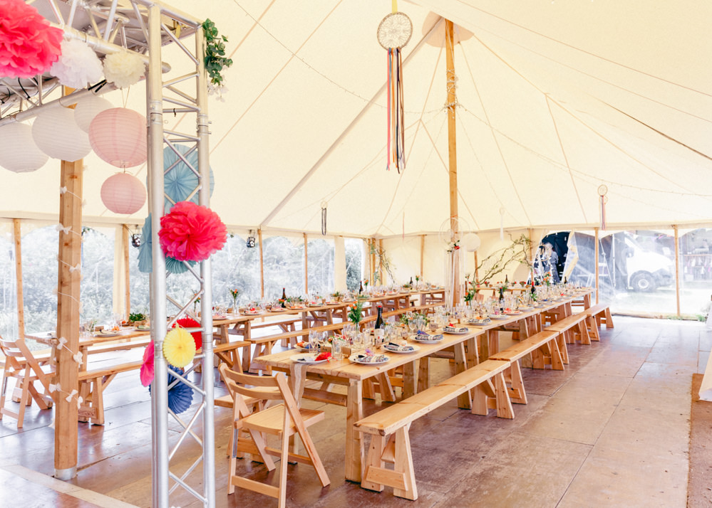 Pole Tent Marquee Decor Dream Catchers Teybrook Orchard Wedding Hayley Jaynes Photography