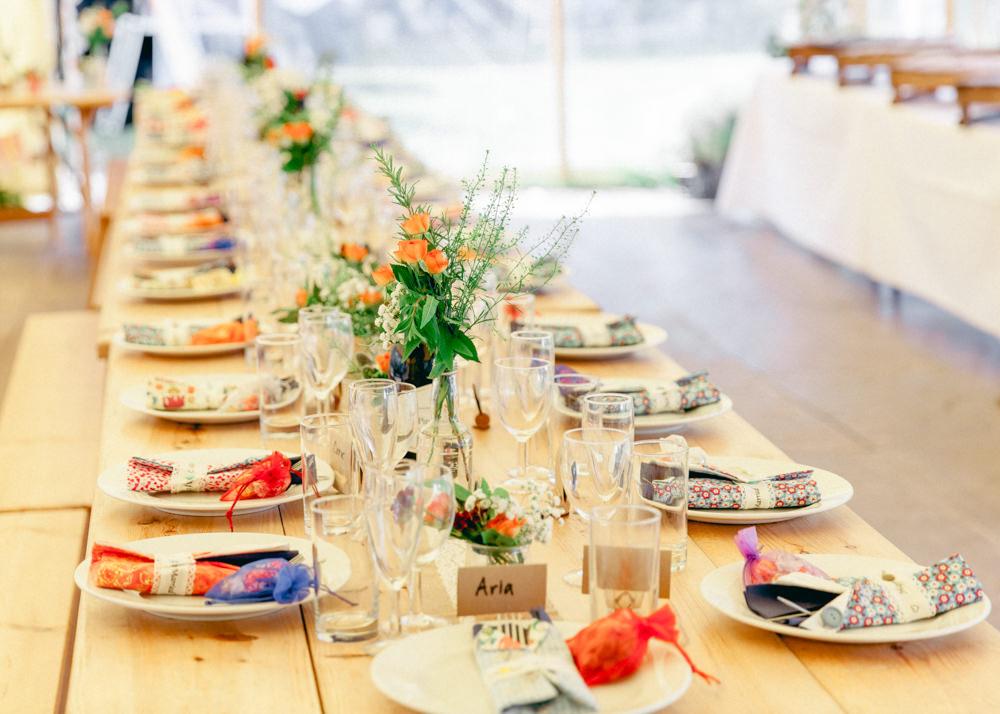 Long Table Tipi Tent Colourful Napkins Flowers Decor Teybrook Orchard Wedding Hayley Jaynes Photography