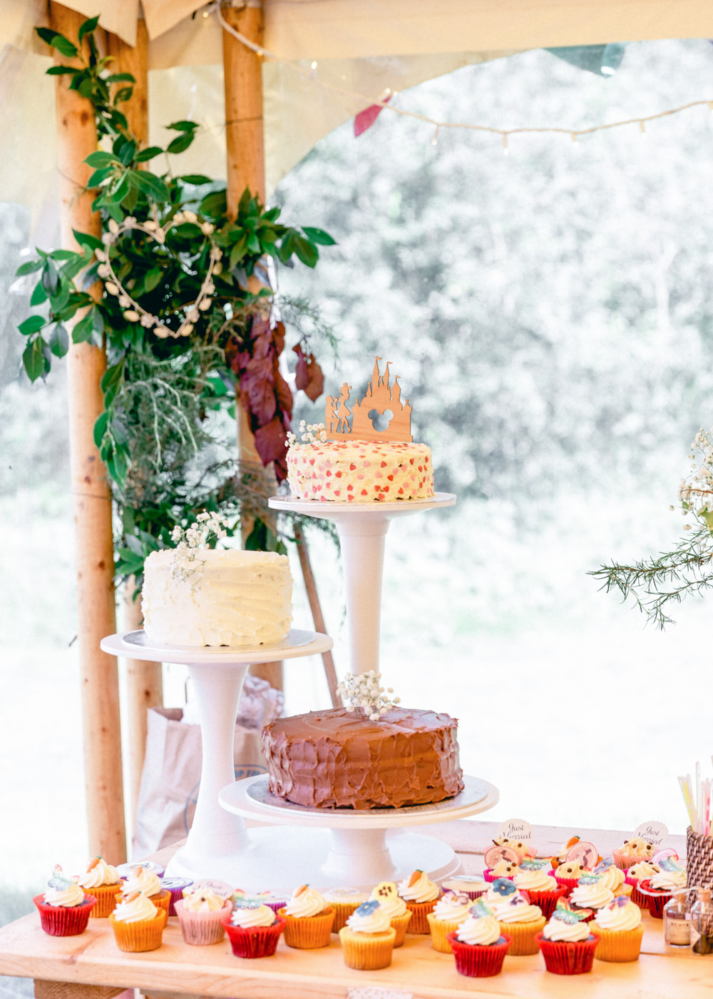 Cakes Cake Stand Cupcakes Teybrook Orchard Wedding Hayley Jaynes Photography