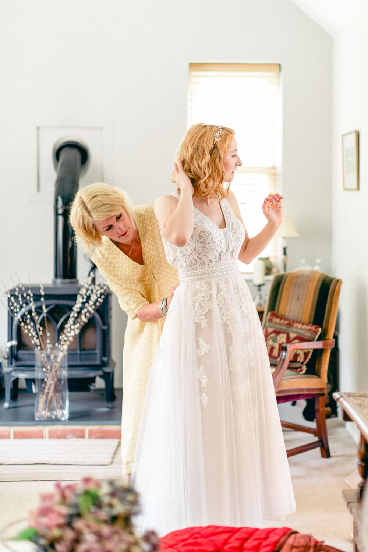 Dress Gown Bride Bridal Short Tea Length Lace Tulle Teybrook Orchard Wedding Hayley Jaynes Photography