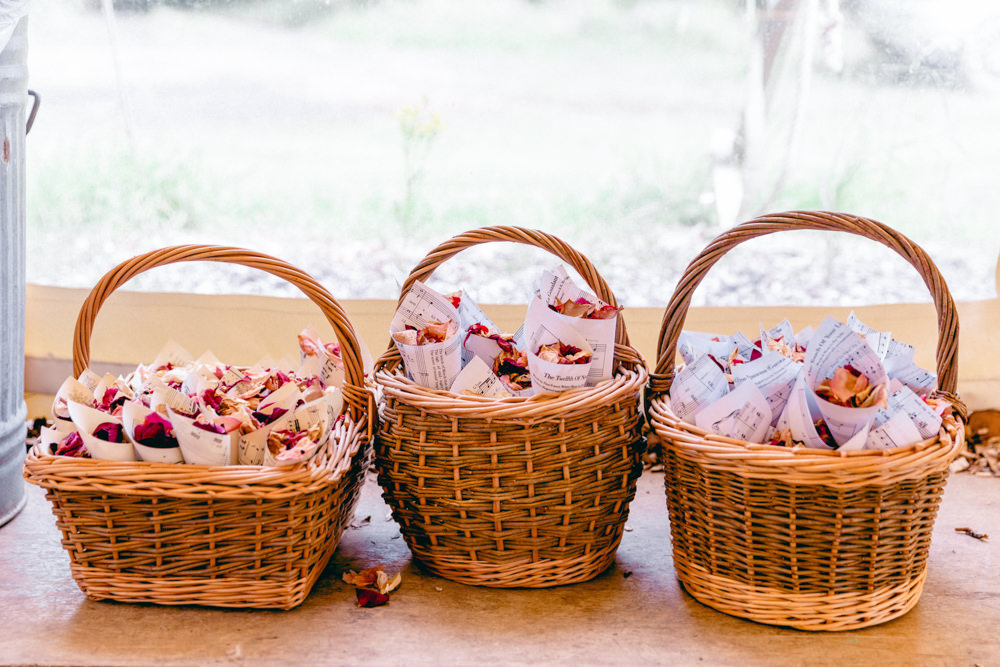 Confetti Cones Baskets Teybrook Orchard Wedding Hayley Jaynes Photography