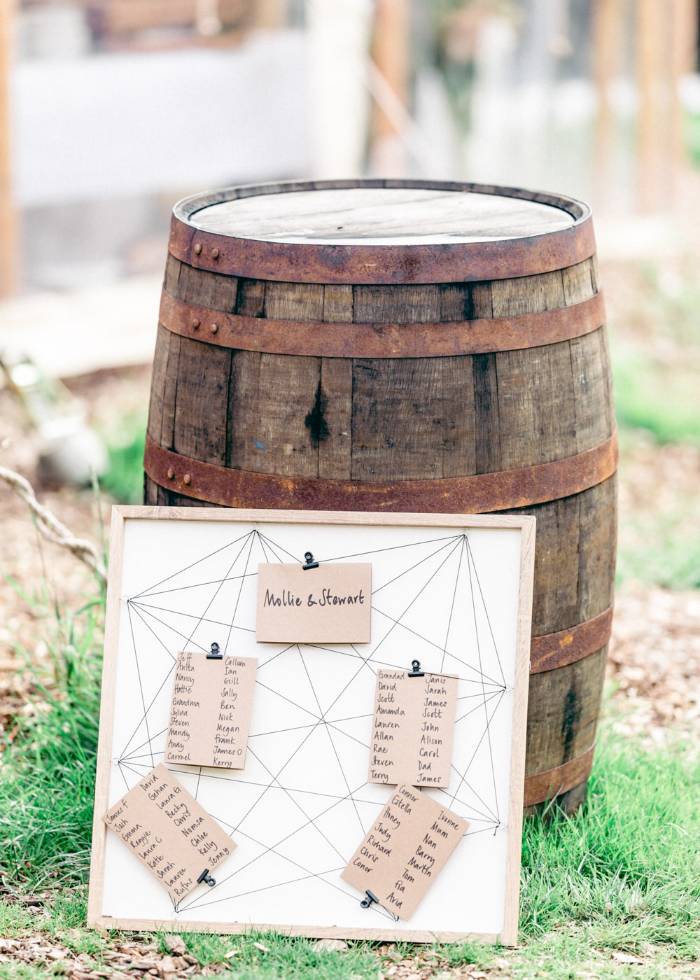 String Seating Chart Table Plan Barrel Teybrook Orchard Wedding Hayley Jaynes Photography