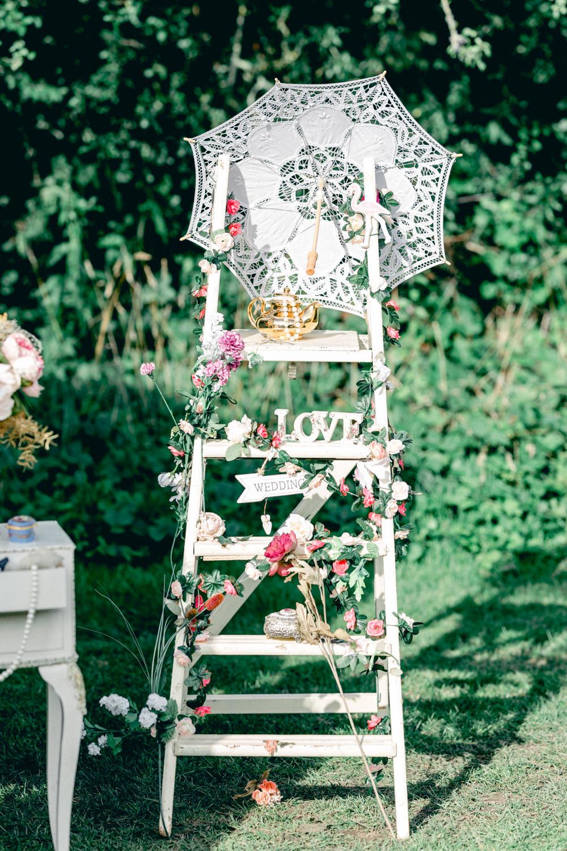 Wooden Ladder Decor Decoration Teybrook Orchard Wedding Hayley Jaynes Photography