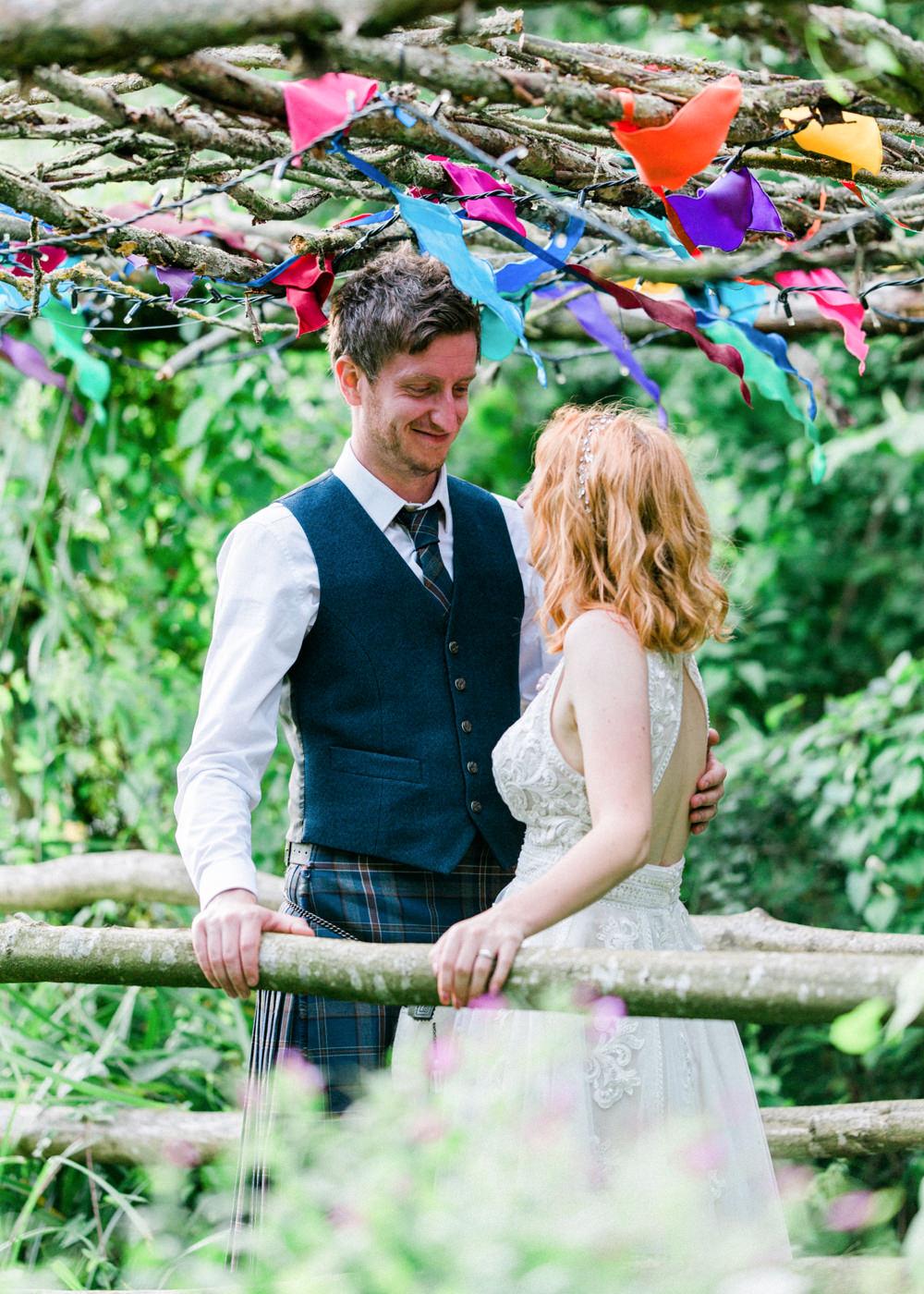 Groom Kilt Waistcoat Teybrook Orchard Wedding Hayley Jaynes Photography