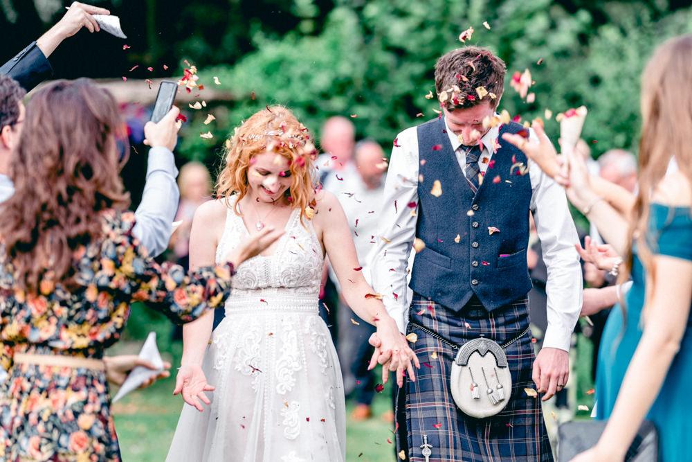 Confetti Throw Teybrook Orchard Wedding Hayley Jaynes Photography