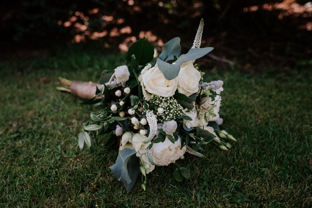 Bouquet Flowers Bride Bridal Rose Greenery Foliage Tipi Hertfordshire Wedding Michelle Cordner Photography