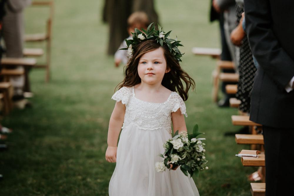 Flower Crown Flower Girl Tipi Hertfordshire Wedding Michelle Cordner Photography