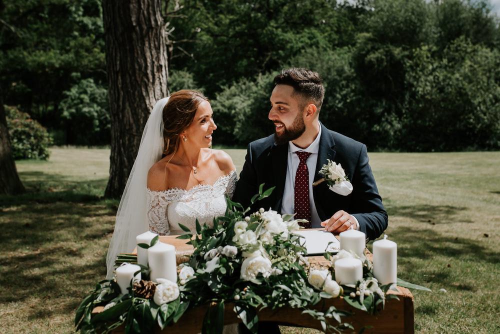 Ceremony Table Flowers Tipi Hertfordshire Wedding Michelle Cordner Photography