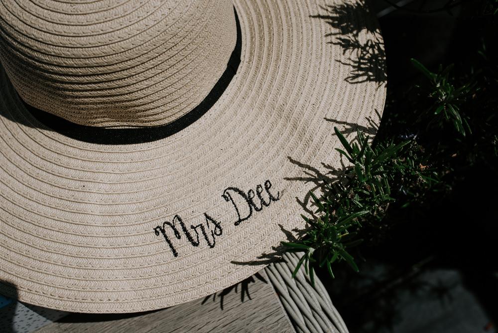 Bride Bridal Straw Hat Personalised Tipi Hertfordshire Wedding Michelle Cordner Photography