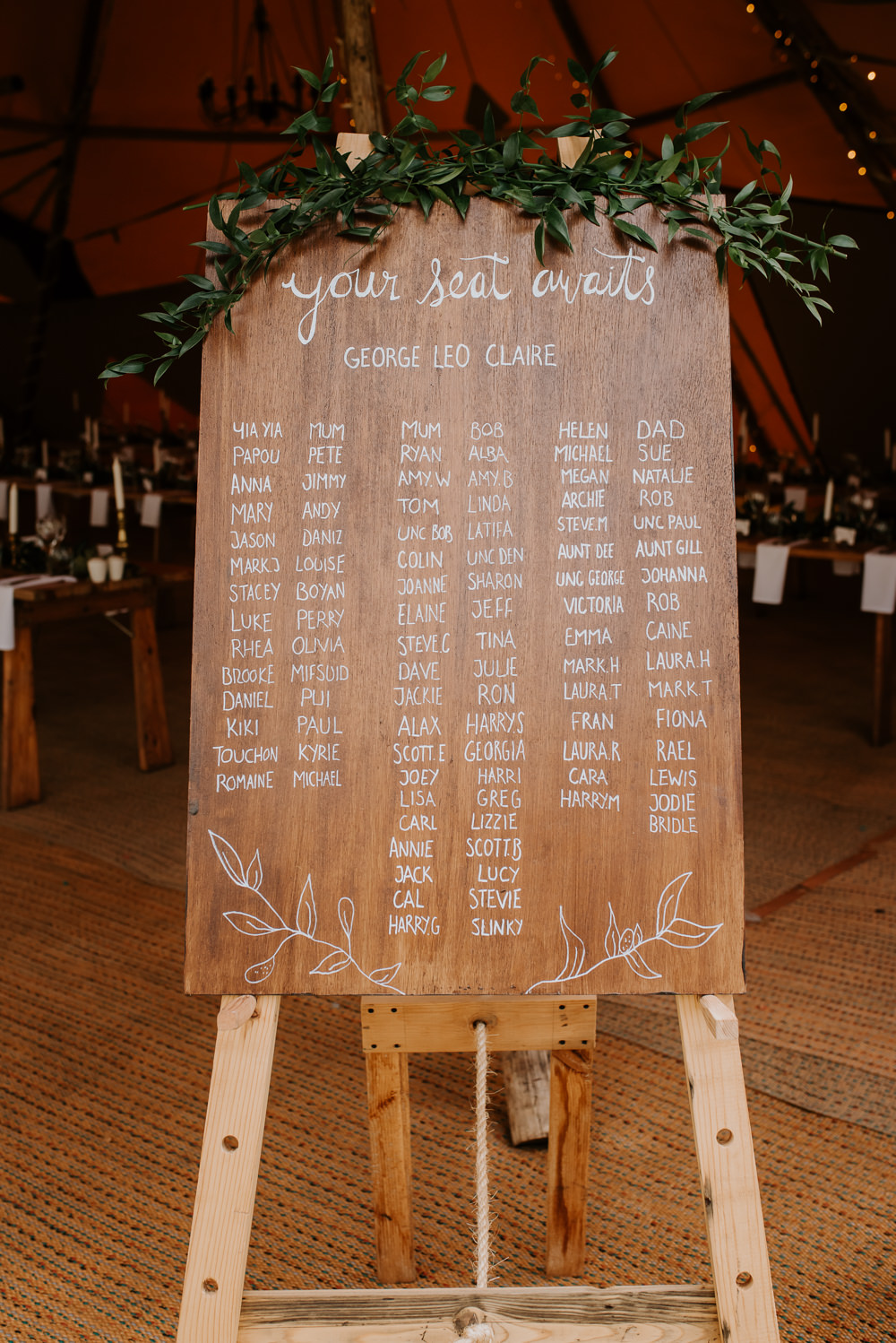 Wooden Greenery Seating Chart Table Plan Tipi Hertfordshire Wedding Michelle Cordner Photography