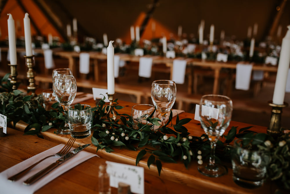 Candles Greenery Foliage Swag Runner Stars Decor Tipi Hertfordshire Wedding Michelle Cordner Photography