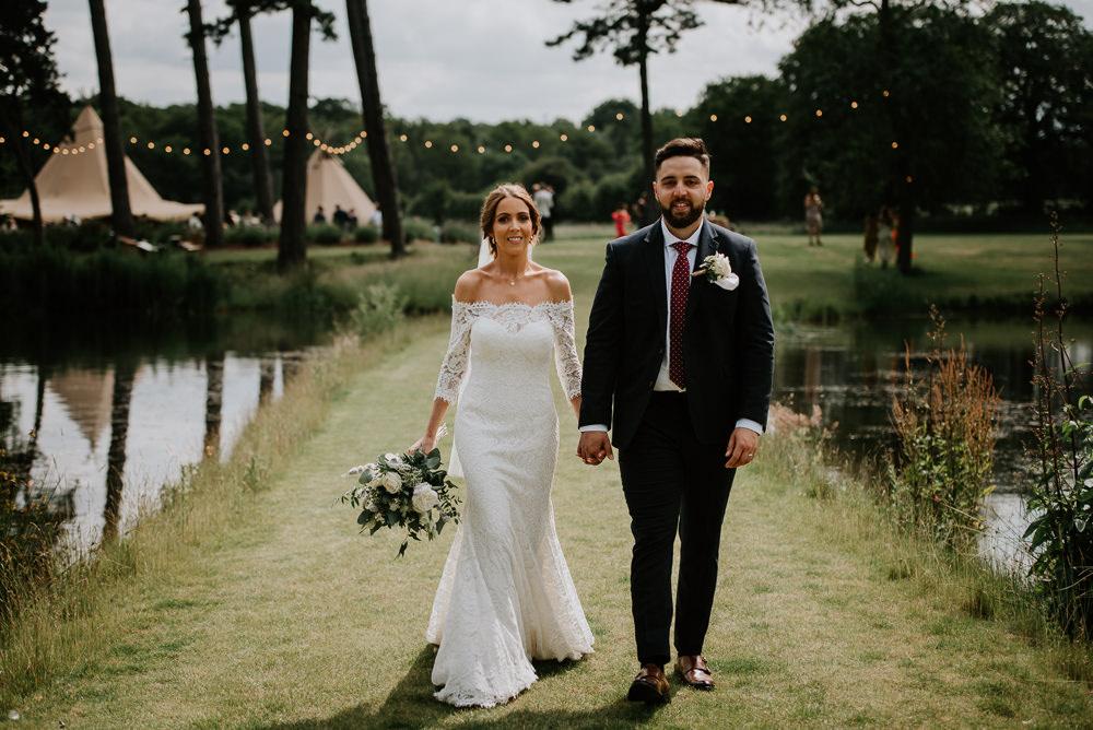 Dress Gown Bride Bridal Off Shoulder Bardot Pronovias Lace Tipi Hertfordshire Wedding Michelle Cordner Photography