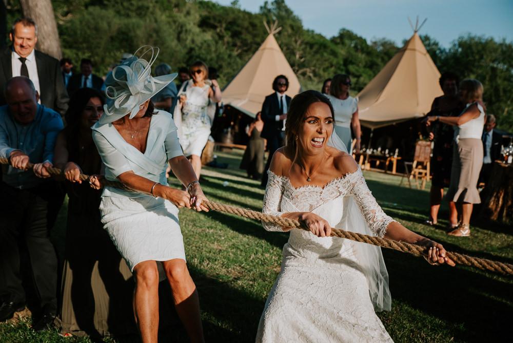 Tug Of War Game Tipi Hertfordshire Wedding Michelle Cordner Photography