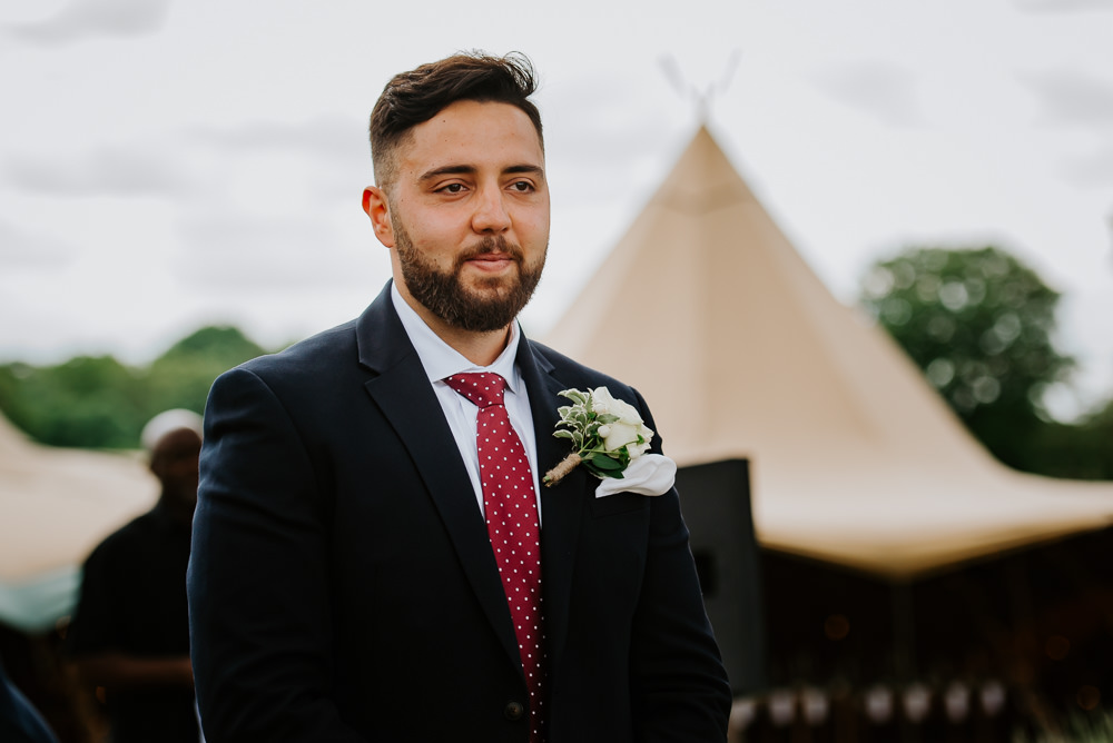 Groom Suit Red Tie Tipi Hertfordshire Wedding Michelle Cordner Photography