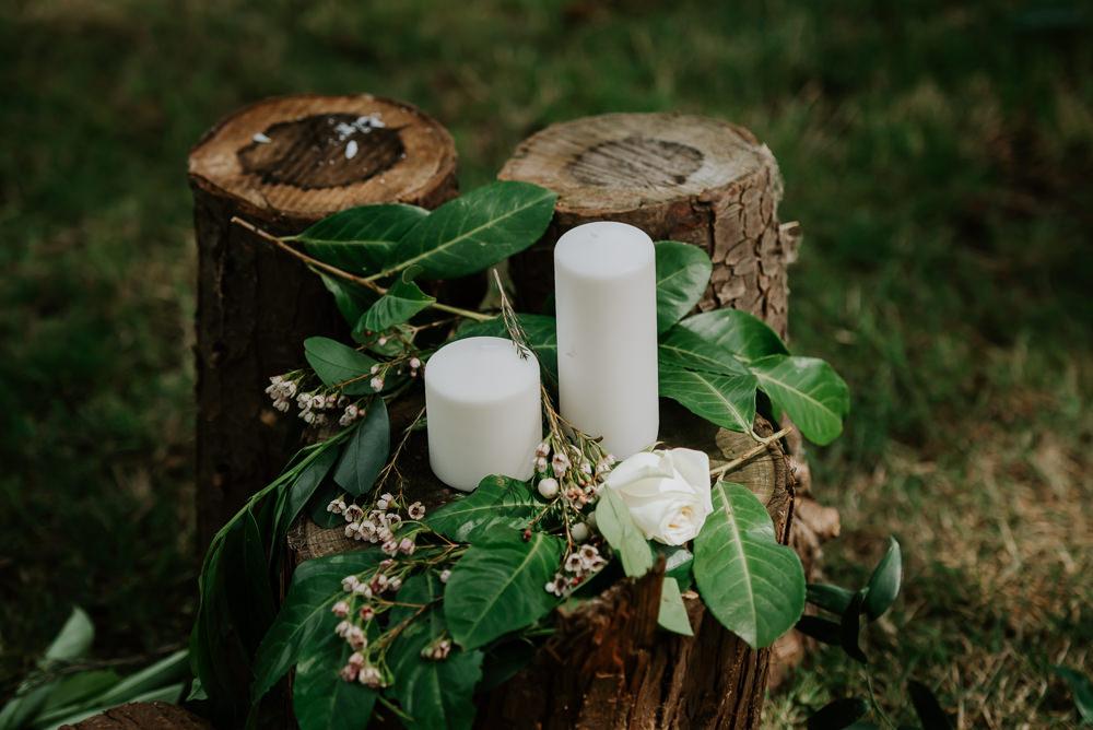 Candles Log Decor Decoration Tipi Hertfordshire Wedding Michelle Cordner Photography