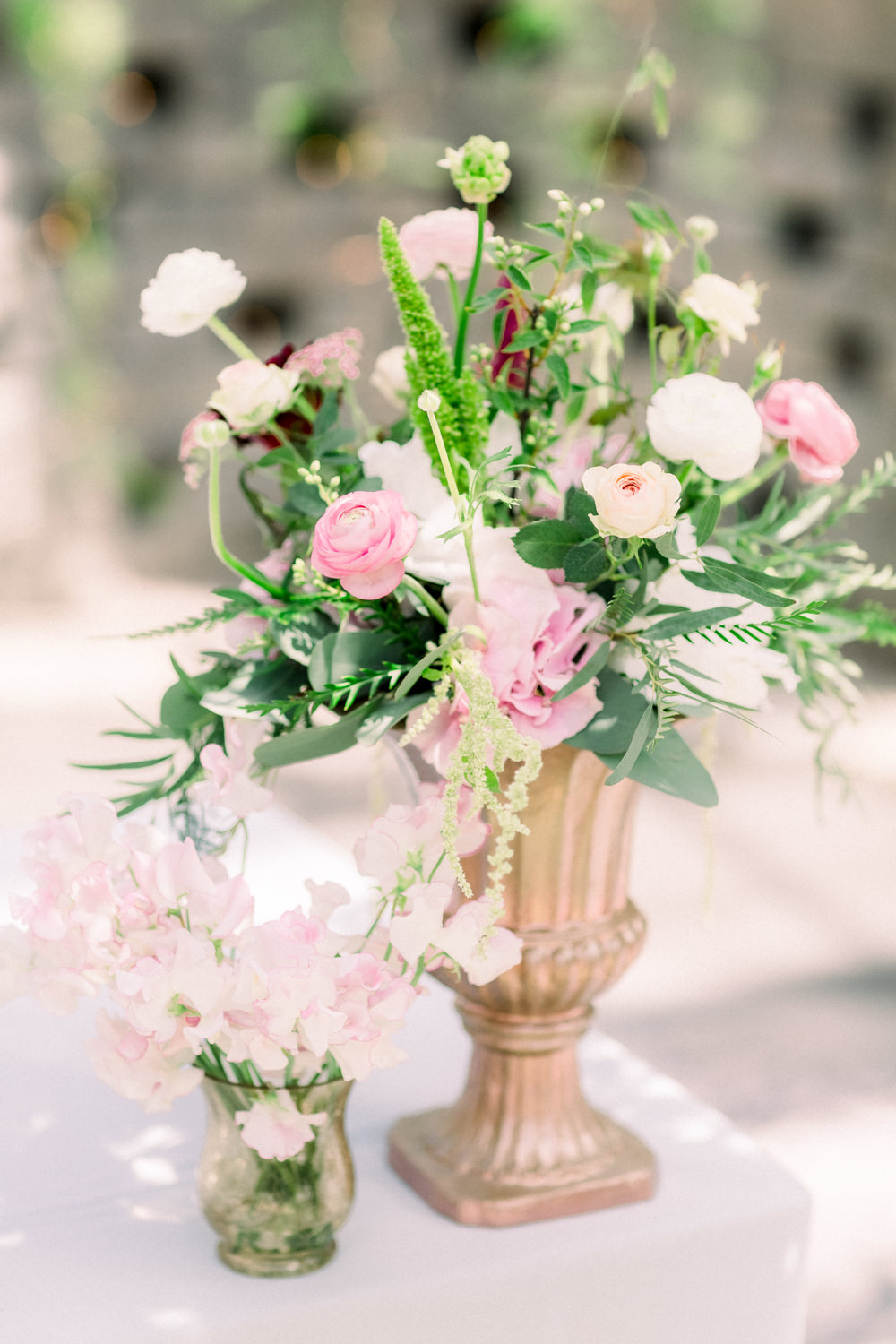 Flowers Urn Pink Sweet Peas Ranunculus Tortworth Court Wedding Sanshine Photography