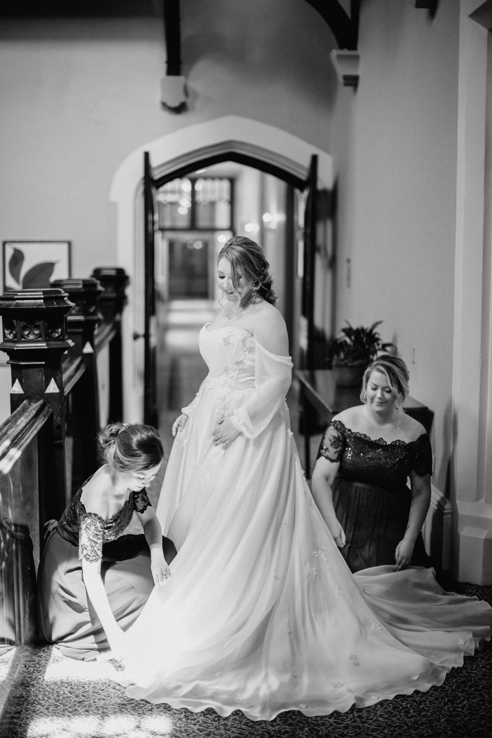 Tulle Sleeves Train Princess Dress Gown Bride Bridal Tortworth Court Wedding Sanshine Photography