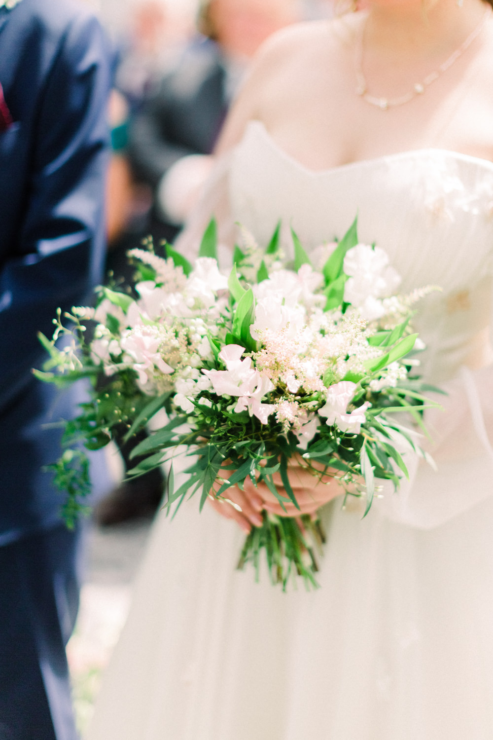 Bouquet Flowers Bride Bridal Astilbe Sweet Peas Lily of the Valley Tortworth Court Wedding Sanshine Photography