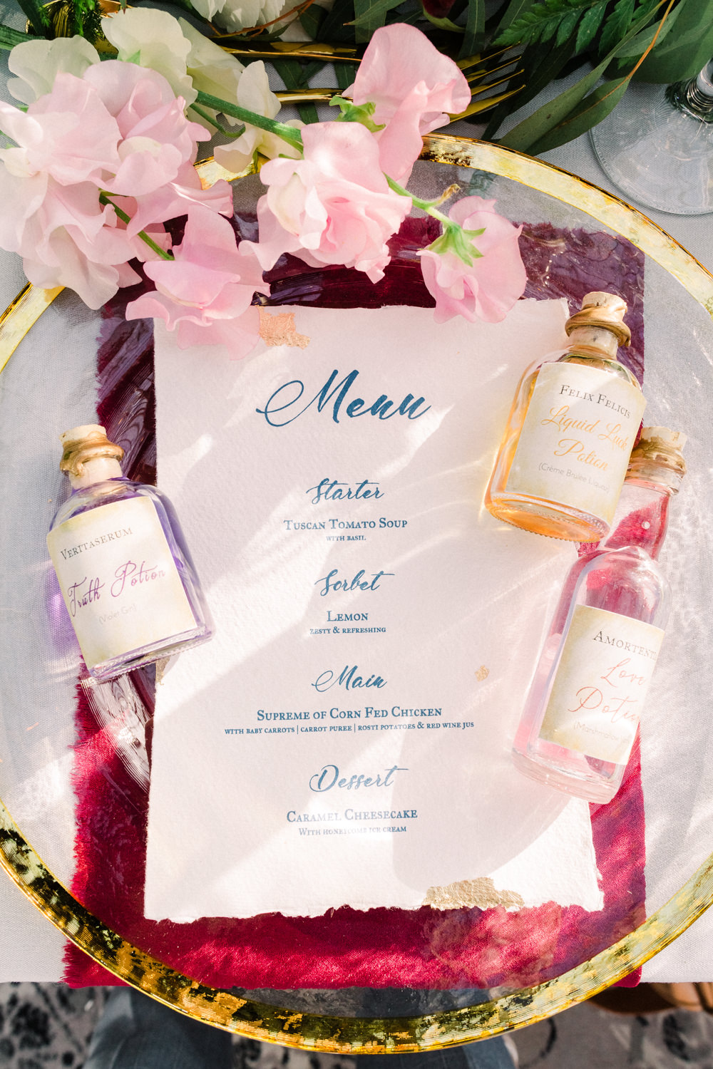 Menu Stationery Calligraphy Plate Place Setting Bottles Gold Red Tortworth Court Wedding Sanshine Photography