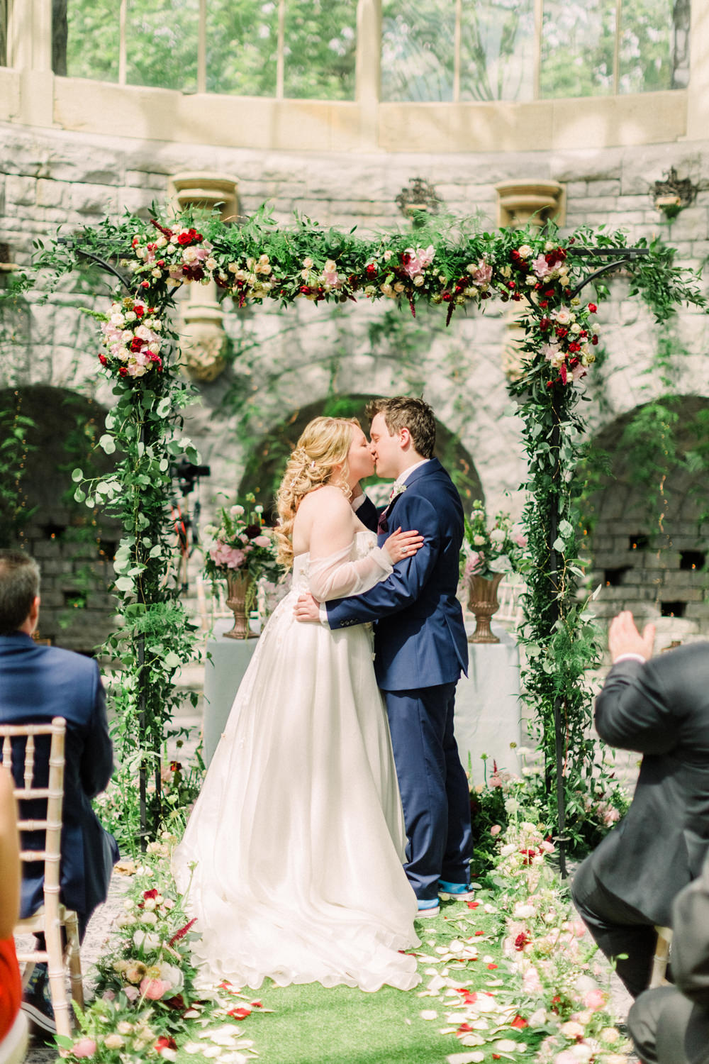 Flower Arch Backdrop Ceremony Aisle Greenery Petals Red Tortworth Court Wedding Sanshine Photography