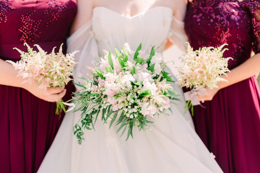 Bouquet Flowers Bride Bridal Astilbe Sweet Peas Lily of the Valley Bridesmaid Tortworth Court Wedding Sanshine Photography