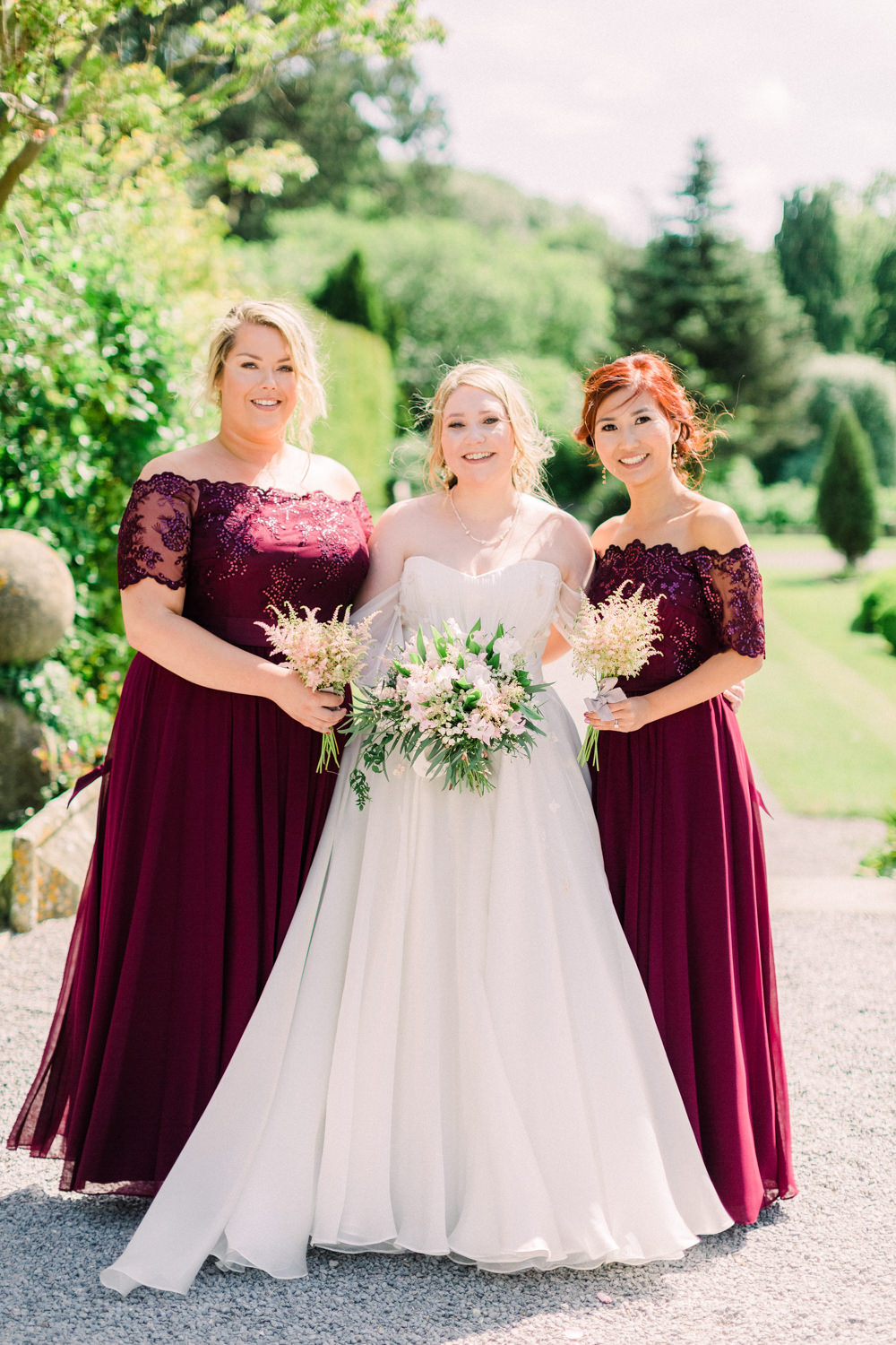 Red Burgundy Coast Bridesmaid Dress Bridesmaid Dresses Lace Tortworth Court Wedding Sanshine Photography
