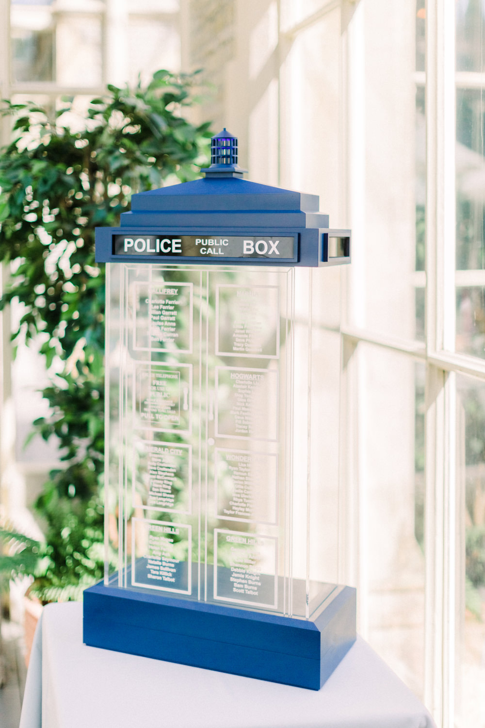 Dr Who Tardis Glass Perspex Acrylic Seating Chart Table Plan Tortworth Court Wedding Sanshine Photography