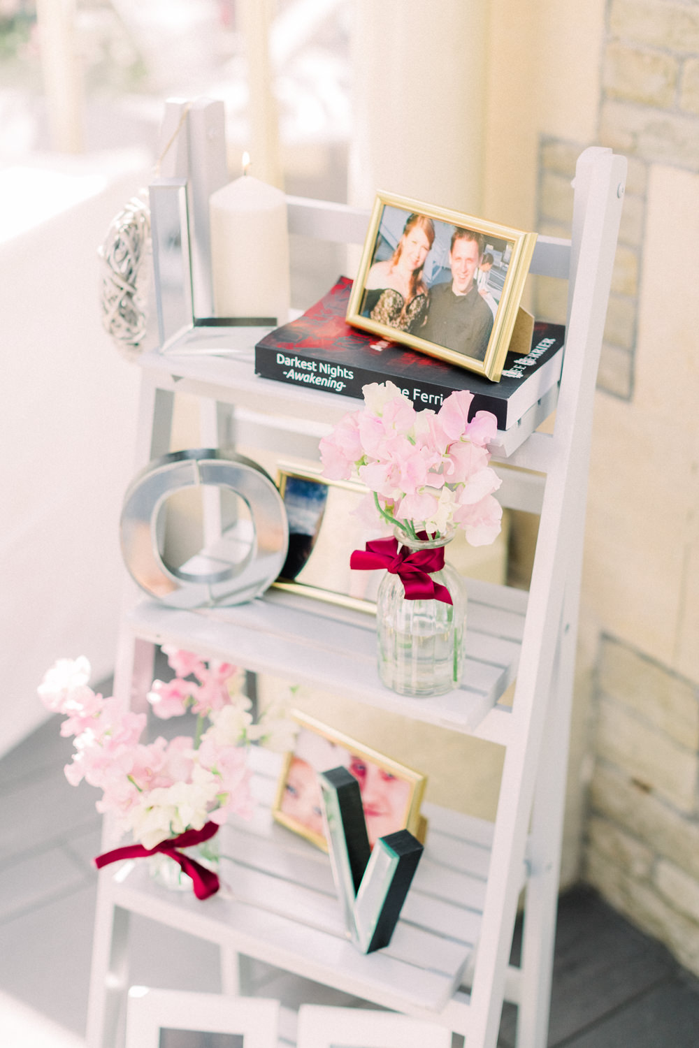 Wooden Ladder Decor Flowers Photos Tortworth Court Wedding Sanshine Photography