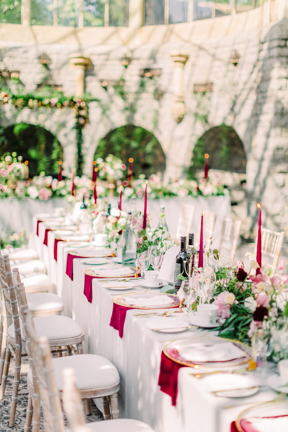 Long Tables Red Candles Napkins Flowers Greenery Tortworth Court Wedding Sanshine Photography