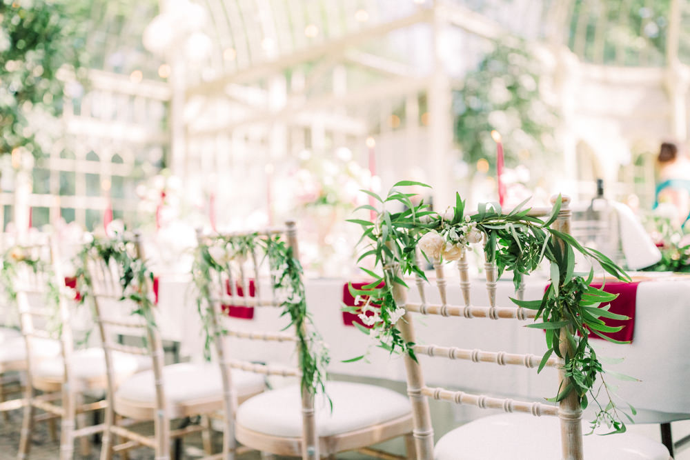 Chair Flowers Greenery Decor Tortworth Court Wedding Sanshine Photography