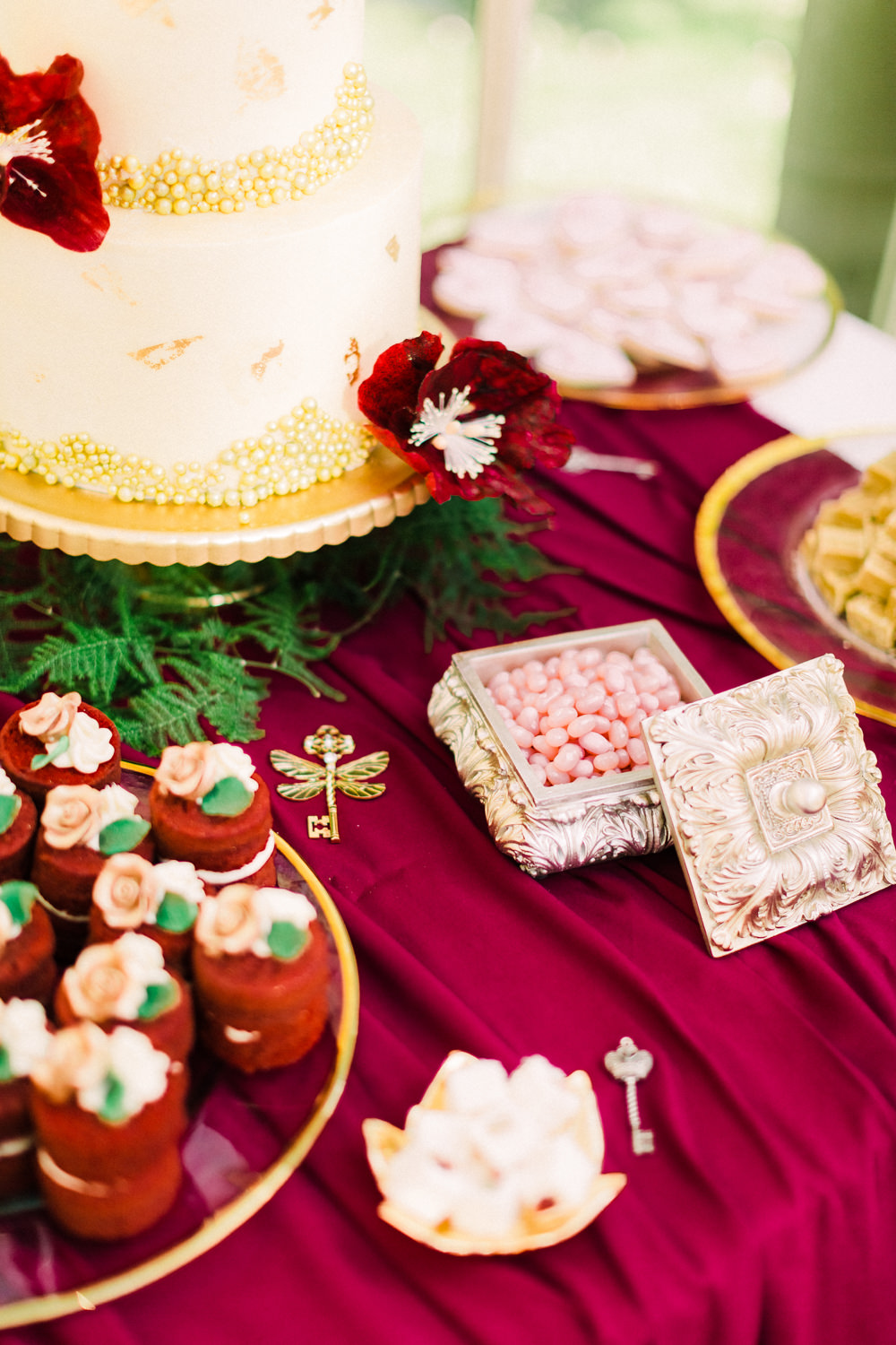 Cake Table Dessert Red Gold Tortworth Court Wedding Sanshine Photography