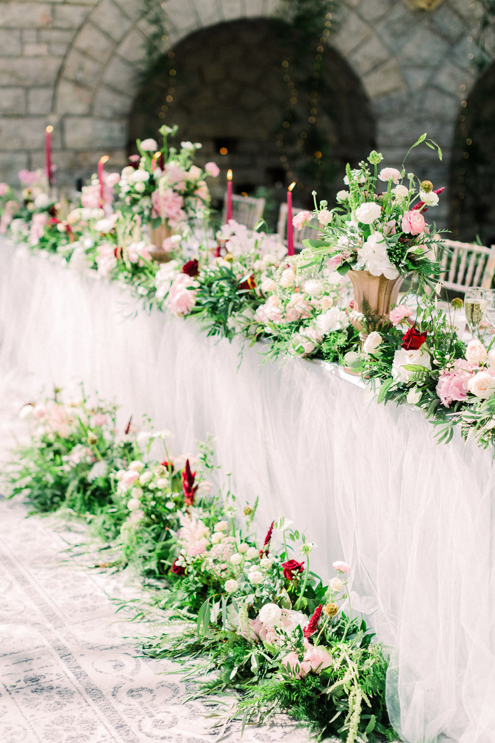 Top Table Long Tables Red Candles Napkins Flowers Greenery Tortworth Court Wedding Sanshine Photography