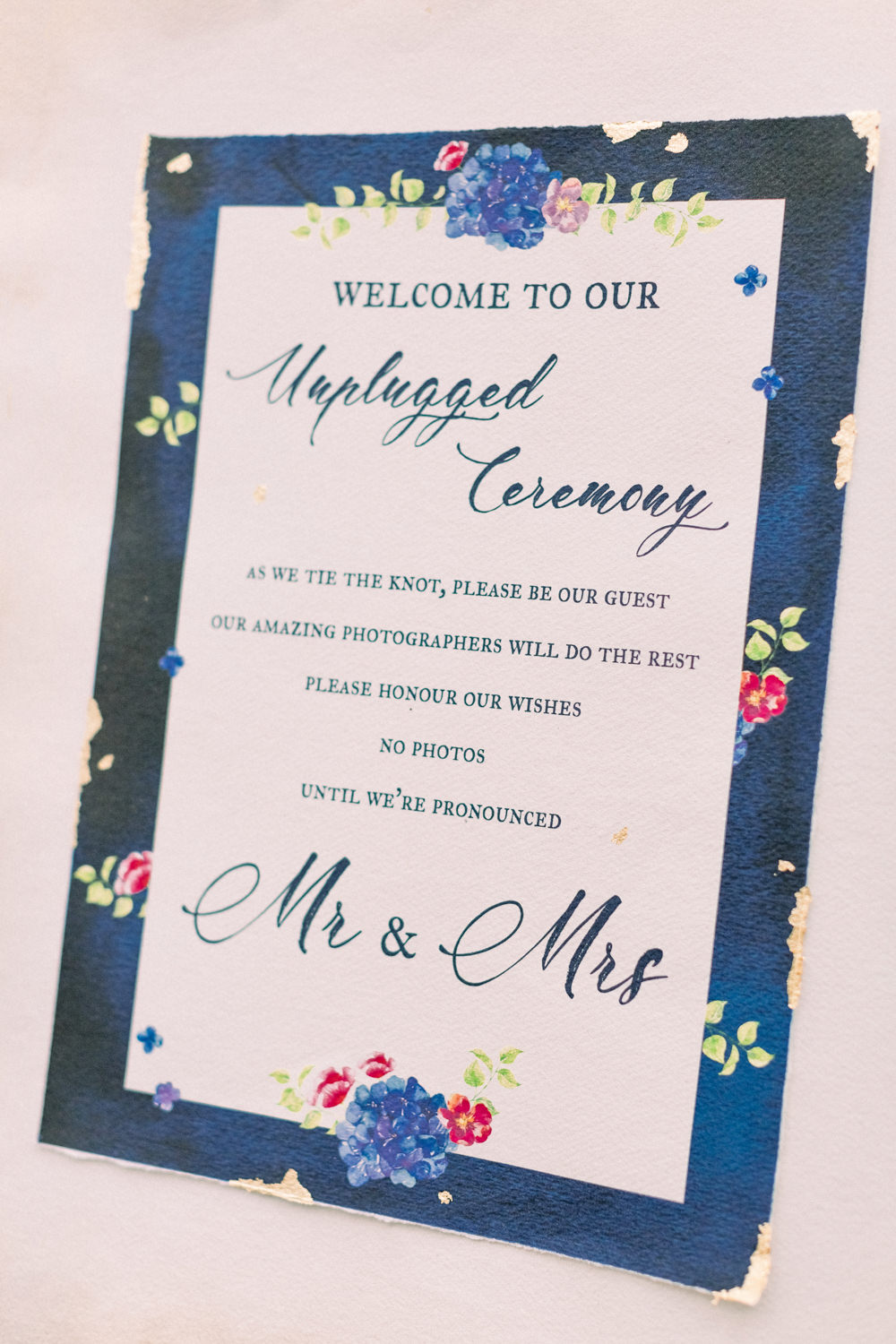 Sign Signs Signage Unplugged Ceremony Easel Tortworth Court Wedding Sanshine Photography