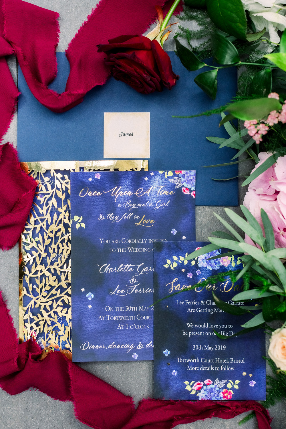 Stationery Invite Invitation Suite Flatlay Blue Floral Red Ribbon Gold Tortworth Court Wedding Sanshine Photography