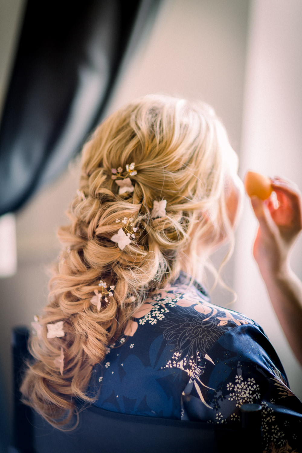 Hair Bride Bridal Style Up Do Pretty Rustic Waves Curls Flowers Tortworth Court Wedding Sanshine Photography