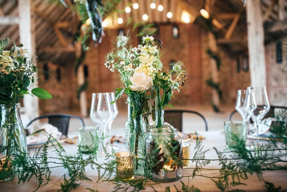 Table Tablescape Decor Greenery Foliage Festoon Lights Flowers Candles Decor Decoration Tuffon Hall Wedding Three Flowers Photography
